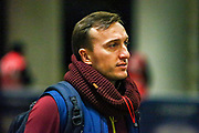 West Ham United midfielder Mark Noble (16) arrives before the Premier League match between West Ham United and Brighton and Hove Albion at the London Stadium, London, England on 2 January 2019.