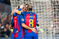 FC Barcelona's Arda Turan, Andres Iniesta, Leo Messi during Champions League match between Futbol Club Barcelona and VfL Borussia Mönchengladbach  at Camp Nou Stadium in Barcelona , Spain. December 06, 2016. (ALTERPHOTOS/Rodrigo Jimenez)