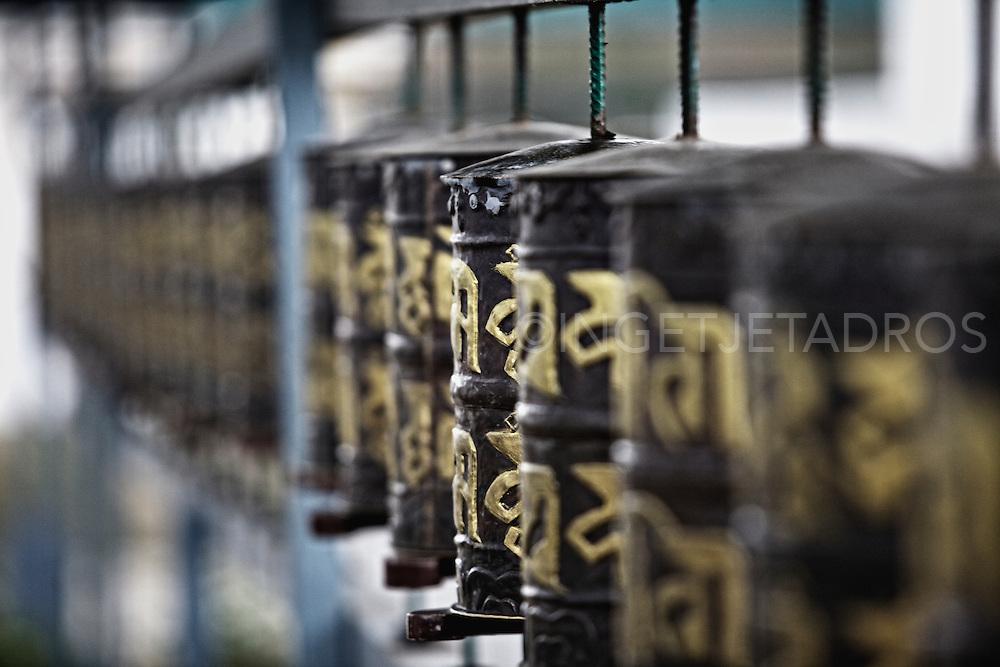 Buddhist Prayer wheel at Jirang Monasteries....Photo by Ingetje Tadros..