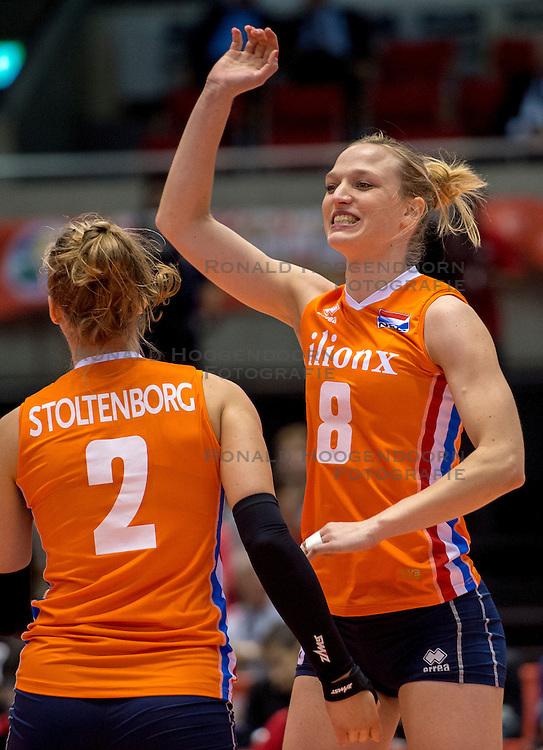18-05-2016 JAP: OKT Nederland - Dominicaanse Republiek, Tokio<br /> Nederland is weer een stap dichterbij kwalificatie voor de Olympische Spelen. Dit dankzij een 3-0 overwinning op de Dominicaanse Republiek / Femke Stoltenborg #2, Judith Pietersen #8