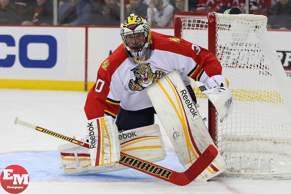 Mar 23, 2013; Newark, NJ, USA; Florida Panthers goalie Scott Clemmensen (30) during the first period at the Prudential Center.