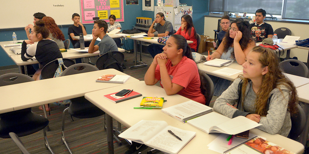 gbs060517l/RIO-WEST -- Students listen during a financial literacy course for high school students at Bernalillo High School on Monday, June 5, 2017. Nusenda Credit Union is offing the free summer course for high school credit. (Greg Sorber/Albuquerque Journal)