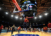 Cleveland Cavaliers forward LeBron James (23) dunks a basket during practice before the NBA basketball game against the New York Knicks on Friday, Nov. 13, 2015, in New York. (AP Photo/Kathy Kmonicek)
