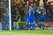 GOAL Ethan Ebanks-Landell celebrates scoring 1-0 during the EFL Sky Bet League 1 match between Rochdale and AFC Wimbledon at Spotland, Rochdale, England on 19 February 2019.