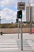Israel, Jerusalem The newly constructed Light Train rapid urban transport system warning sign