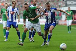 25.09.2011, Weserstadion, Bremen, GER, 1.FBL, Werder Bremen vs Hertha BSC, im Bild Marko Arnautovic (Bremen #7), Christian Lell (Berlin #2)..// during the match Werder Bremen vs Hertha BSC on 2011/09/25, Weserstadion, Bremen, Germany..EXPA Pictures © 2011, PhotoCredit: EXPA/ nph/  Frisch       ****** out of GER / CRO  / BEL ******