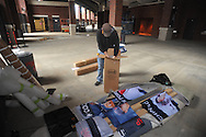 Jeremy Dana of Design & Display installs banners of Ole Miss All-American baseball players at Oxford-University Stadium in Oxford, Miss. on Monday, February 11, 2013. 17 banners are being erected and signage in the stadium is being updated.
