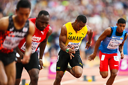 London, 2017 August 07. Yohan Blake, Jamica, in the men's 200m heats on day four of the IAAF London 2017 world Championships at the London Stadium. © Paul Davey.