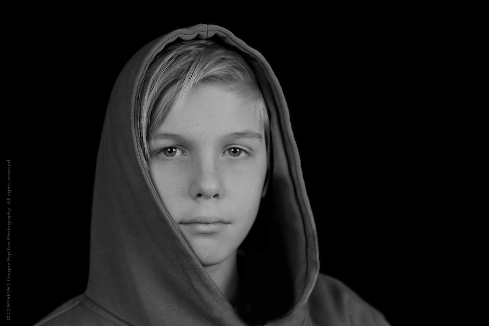 black and white portrait of young teenager male