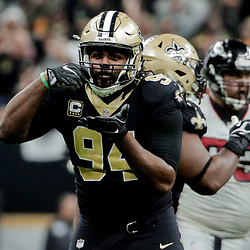 Dec 24, 2017; New Orleans, LA, USA; New Orleans Saints defensive end Cameron Jordan (94) reacts after sacking Atlanta Falcons quarterback Matt Ryan (not pictured) during the third quarter at the Mercedes-Benz Superdome. The Saints defeated the Falcons 23-13. Mandatory Credit: Derick E. Hingle-USA TODAY Sports