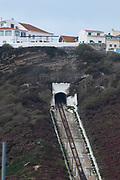Ascensor da Nazare (Nazare Funicular) between Nazare Sitio, the upper part of city and Praia on the beach, Nazare, Portugal