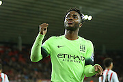 Manchester City midfielder Raheem Sterling scores his second and Man Citys fourth goal during the Capital One Cup match between Sunderland and Manchester City at the Stadium Of Light, Sunderland, England on 22 September 2015. Photo by Simon Davies.
