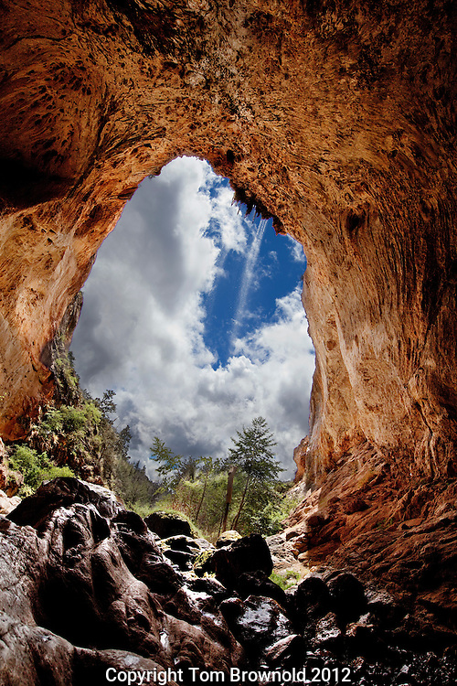 AZ State Park. Tonto Natural Bridge is a huge travertine bridge on the Mogollon rim