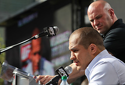 November 9, 2011; Los Angeles, CA; USA; Junior Dos Santos speaks during the final press conference for the UFC on FOX.  Dos Santos will challenge UFC Heavyweight Champion Cain Velasquez in the main event.