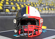 November 23 2012: A split Iowa Hawkeyes and Nebraska Cornhuskers helmet on the sidelines before the start of the NCAA football game between the Nebraska Cornhuskers and the Iowa Hawkeyes at Kinnick Stadium in Iowa City, Iowa on Friday November 23, 2012. Nebraska defeated Iowa 13-7 in the Heroes Game on Black Friday.
