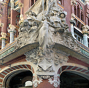 Palau de la Musica Catalana by Domenech i Montaner 1850-1923 built 1908 for Orfeo Catala choral group sculpture by Miquel Blay Barcelona Spain. Corner with allegorical relief, 1908 (photo), Domenech i Montaner, Luis (1849-1923) / Palau de la Musica Catalana, Barcelona Picture by Manuel Cohen