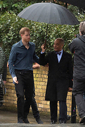 © Licensed to London News Pictures. 28/02/2020. London, UK. The Duke of Sussex arrives at Abbey Road Studios to meet Jon Bon Jovi and members of the Invictus Games Choir who are recording a special single in aid of the Invictus Games Foundation. The song will be recorded in Studio 2 at Abbey Road Studios, which was made famous by The Beatles who recorded 11 out of their 13 albums there. Photo credit: Ray Tang/LNP