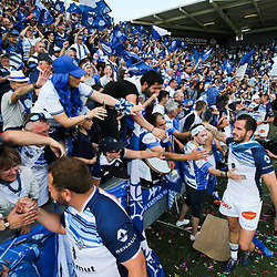 Julien Dumora of Castres celebrate the victory during the French Top 14 Playoffs match between Stade Toulousain and Castres at Stade Ernest Wallon on May 19, 2018 in Toulouse, France. (Photo by Laurent Frezouls/Icon Sport)