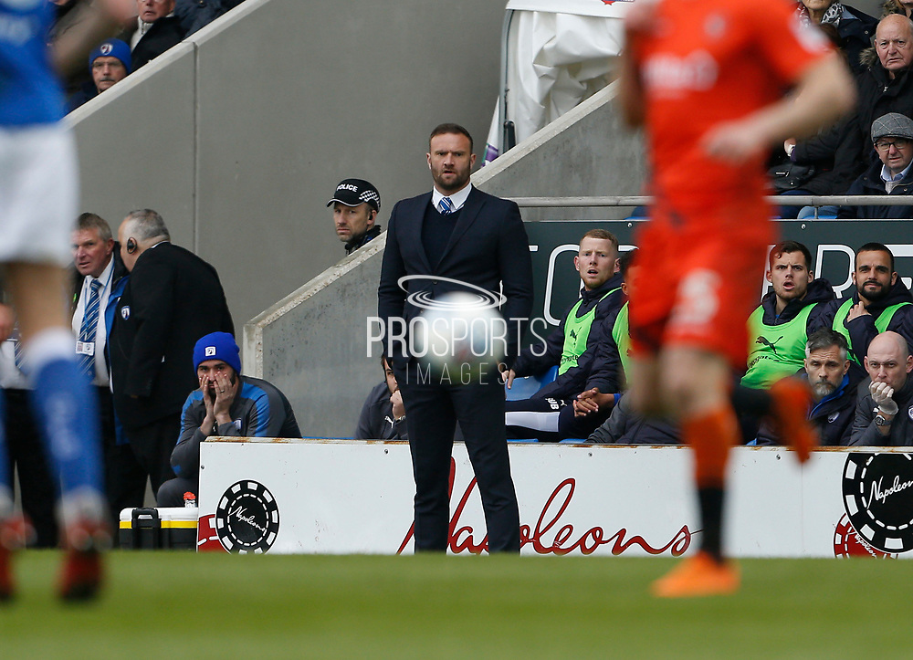 Chesterfield's Interim Manager Ian Evatt during the EFL Sky Bet League 2 match between Chesterfield and Wycombe Wanderers at the b2net stadium, Chesterfield, England on 28 April 2018. Picture by Paul Thompson.