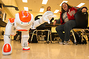 Houston ISD computer programming and robotics teachers from Sam Houston, Waltrip, Westbury, Eastwood and Reagan High Schools learn the functions of the NAO Humanoid Robot during a workshop at Scarborough HS, February 11, 2014. HISD's Career and Technical Education department purchased six of the robots to use within career pathways including computer programing and robotics.