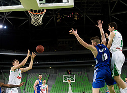 Marko Simonovic of Petrol Olimpija and Aleksandar Lazic of Petrol Olimpija vs Leon Sntelj of KK Rogaska during 2nd leg basketball match between KK Petrol Olimpija and KK Rogaska in quarter final of  Pokal SPAR 2018/19, on January 14, 2019 in Arena Stozice, Ljubljana, Slovenia. Photo by Matic Ritonja / Sportida