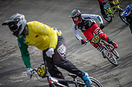 #352 during practice at the 2018 UCI BMX World Championships in Baku, Azerbaijan.