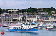 Boats in English Channel at St Peter Port, Guernsey, Channel Islands