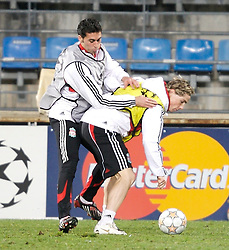 MARSEILLE, FRANCE - Monday, December 10, 2007: Liverpool's Fernando Torres and Alvaro Arbeloa training at the Stade Velodrome ahead of the final UEFA Champions League Group A match against Olympique de Marseille. Liverpool must win to progress to the knock-out stage. (Photo by David Rawcliffe/Propaganda)