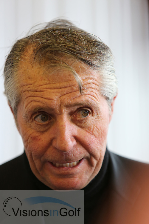 Gary Player at the press media conference<br /> at The Open Championship 2013, Muirfield, Scotalnd<br /> Picture Credit:  Mark Newcombe / visionsingolf.com