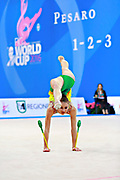 Kiss Alexandra of Hungary competes during the rhythmic gymnastics individual clubs qualification of the World Cup at Adriatic Arena on April 2, 2016 in Pesaro, Italy.<br /> Alexandra was born in Budapest Hungary in 2000.
