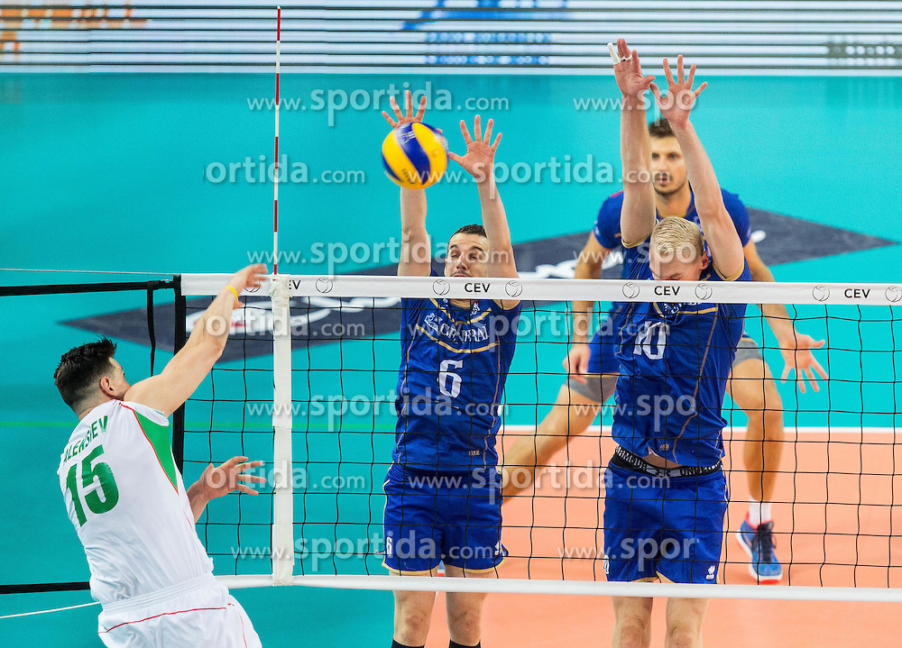 Todor Aleksiev of Bulgaria vs Benjamin Toniutti #6 of France and Kevin Le Roux #10 of France during volleyball match between National teams of France and Bulgaria in 2nd Semifinal of 2015 CEV Volleyball European Championship - Men, on October 17, 2015 in Arena Armeec, Sofia, Bulgaria. Photo by Vid Ponikvar / Sportida
