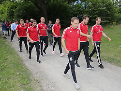 STOCKHOLM, SWEDEN - Sunday, June 5, 2016: Wales players during a pre-match walk at the Royal Park Hotel ahead of the international friendly match against Sweden. George Williams, Joe Allen, David Cotterill, James Chester, David Vaughan, goalkeeper Chris Maxwell and goalkeeper Owain Fon Williams. (Pic by David Rawcliffe/Propaganda)