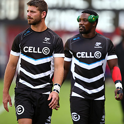 DURBAN, SOUTH AFRICA - MARCH 26: Willie le Roux with  Lwazi Mvovo of the Cell C Sharks during the Super Rugby match between Cell C Sharks and BNZ Crusaders at Growthpoint Kings Park on March 26, 2016 in Durban, South Africa. (Photo by Steve Haag)<br /> <br /> images for social media must have consent from Steve Haag