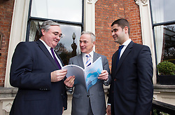 Repro Free: 21/02/2013.Joe Geoghegan, Director of the Arab-Irish Chamber of Commerce is pictured with Minister for Jobs, Enterprise and Innovation Mr John Bruton T.D. and Ahmad Younis, Secretary General, Arab Irish Chamber of Commerce at the launch of the Arab-Irish Chamber of Commerce Report on Economic Opportunities in the Arab World. Picture Andres Poveda.