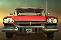 Yes, you can technically call this Plymouth an old-timer. There is no question that it is a truly remarkable, decidedly classic automobile. However, as any expert on classic cars will tell you, the truly great vehicles have an element of timelessness to them. This car certainly doesn&rsquo;t look like its glory days are long gone. Perhaps, it is existing in those moments at the moment of the piece itself. Perhaps, someone has restored it to show the cars of today what an original looks like. This classic piece of an iconic car is available as wall art, t-shirts, or as interior d&eacute;cor products.<br /> <br /> About the car: The 1958 Belvedere two-door hardtop gained notoriety from the Stephen King movie Christine (1983). Christine was billed as a '58 Fury, but lacked the &quot;buckskin beige&quot; paint and gold trim that was standard on all Furys that year; instead it sported Belvedere trim (without Belvedere nameplates) and was painted &quot;toreador red&quot; with an &quot;iceberg white&quot; top. Plymouth collectors decried the cars that were destroyed or cut up in the making of the film; however it did give new life to the remaining Plymouths, shooting the value of the cars upward to many times their original worth.
