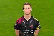 Head shot.  Eddie Byrom wearing the Somerset Vitality Blast kit at the media day at Somerset County Cricket Club at the Cooper Associates County Ground, Taunton, United Kingdom on 11 April 2018. Picture by Graham Hunt.