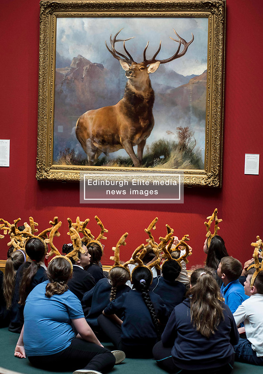pupils from St Ninians primary school - all wearing antlers to mark the occasion - hear about the  launch the nationwide tour of the famous 'Monarch of the Glen' painting by Sir Edwin Landseer.<br /> <br /> © Dave Johnston/ EEm
