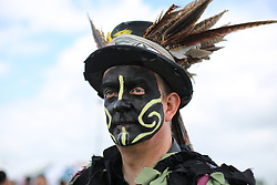 © Licensed to London News Pictures. 14/05/2016. Newark, UK. A member of the Lincolnshire based Poacher Morris group in costume at the 2016 Nottinghamshire County Show at Newark Showground. Photo credit : Ian Hinchliffe/LNP