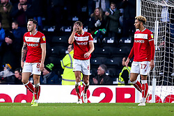 Bristol City cut dejected figures after conceding a goal to Martyn Waghorn of Derby County - Mandatory by-line: Robbie Stephenson/JMP - 22/12/2018 - FOOTBALL - Pride Park Stadium - Derby, England - Derby County v Bristol City - Sky Bet Championship
