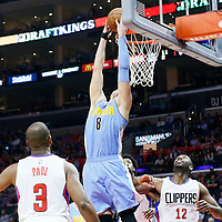 24 February 2016: Denver Nuggets forward Danilo Gallinari (8) goes for the reverse dunk during the Denver Nuggets 87-81 victory over the Los Angeles Clippers, at the Staples Center, Los Angeles, California, USA.