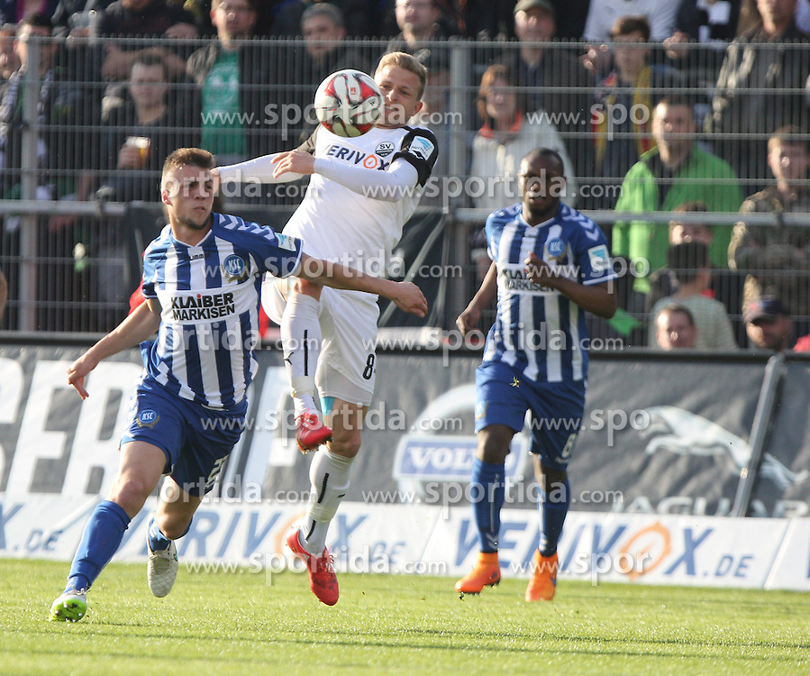 18.04.2015, Hardtwaldstadion, Sandhausen, GER, 2. FBL, SV 1916 Sandhausen vs Karlsruher SC, 29. Runde, im Bild Nicky Adler (SV Sandhausen) im Zweikampf mit Jonas Meffert (Karlsruher SC) // during the 2nd German Bundesliga 29th round match between SV 1916 Sandhausen vs Karlsruher SC at the Hardtwaldstadion in Sandhausen, Germany on 2015/04/18. EXPA Pictures &copy; 2015, PhotoCredit: EXPA/ Eibner-Pressefoto/ Bermel<br /> <br /> *****ATTENTION - OUT of GER*****