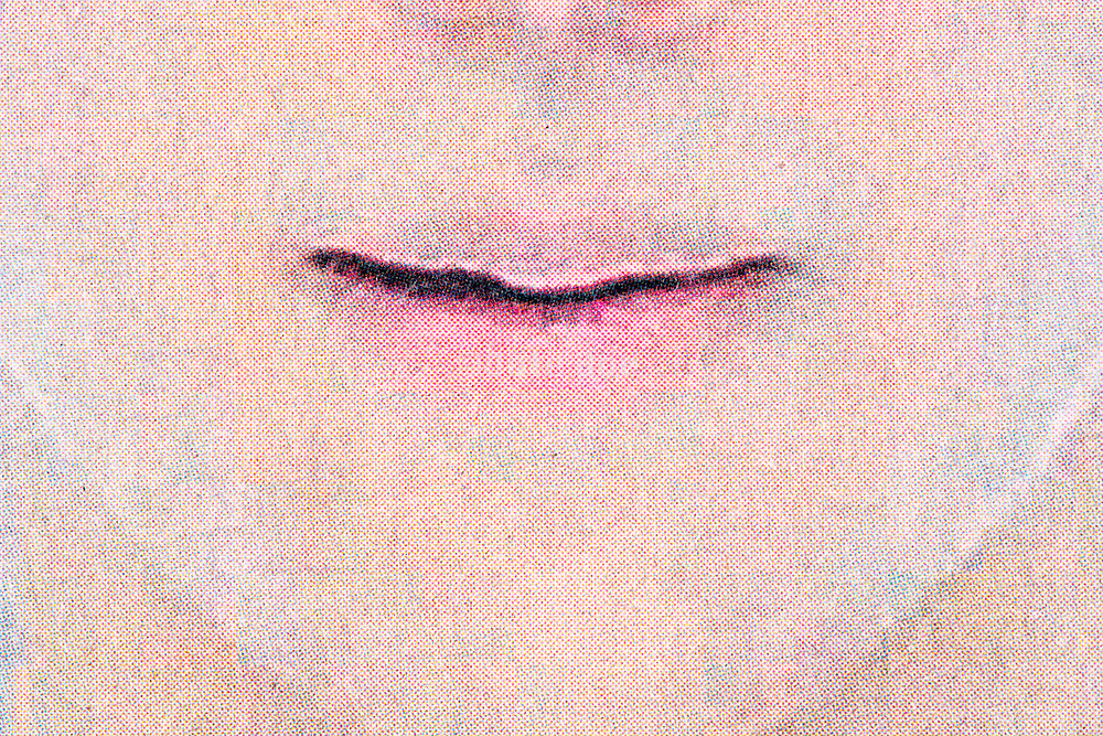 close up of mouth with halftone print dots