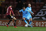 Kelvin Mellor and Tahvon Campbell  during the EFL Sky Bet League 2 match between Bradford City and Cheltenham Town at the Utilita Energy Stadium, Bradford, England on 28 January 2020.