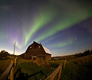 Photo Randy Vanderveen.Cutbank Lake, north of Lake Saskatoon, Alberta.The northern lights dance over the barn on the Monkman homestead on the shores of Cutbank Lake in northern Alberta. Alex Monkman was a an early pioneer in the Peace Country who was known as a rancher and farmer in the early 1900s.