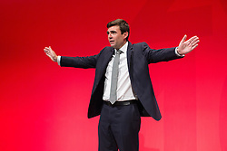 © Licensed to London News Pictures . 28/09/2016 . Liverpool , UK . Greater Manchester Mayoralty candidate ANDY BURNHAM delivers his final speech as shadow Home Affairs spokesman , during the final day of the Labour Party Conference at the ACC in Liverpool . Photo credit : Joel Goodman/LNP