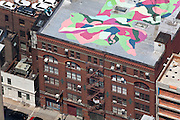 Landmark Arts Building, 547 W 27th St, Chelsea, Manhattan, NY, 10001, 40.751223,-74.00449, Chelsea, Manhattan: Cool mural on a white roof atop a gallery building in Chelsea.