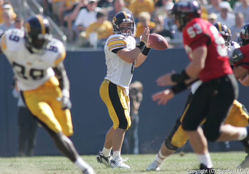 01 SEPTEMBER 2007: Iowa quarterback Jake Christensen (6) in Iowa's 16-3 win over Northern Illinois at Soldiers Field in Chicago, Illinois on September 1, 2007.
