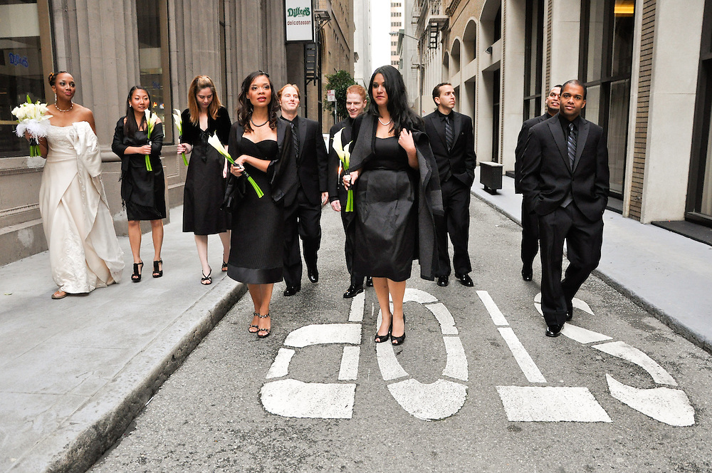 Uzoezi and Noam's bridal party, Leidesdorff St, San Francisco