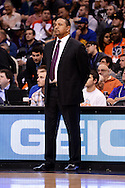 Dec 15, 2013; Phoenix, AZ, USA; Golden State Warriors head coach Mark Jackson stands on the sidelines against the Phoenix Suns in the first half at US Airways Center. The Suns defeated the Warriors 106-102. Mandatory Credit: Jennifer Stewart-USA TODAY Sports