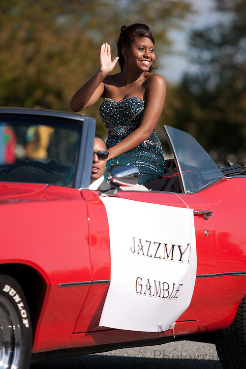 Jazzmyne Gamble, a member of the Glassboro High School homecoming court, rides in the Glassboro High School and Rowan University Homecoming Parade on Saturday October 2, 2011. (Photo / Mat Boyle)